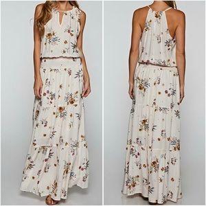 Love Stitch Blush Floral Boho Tiered Maxi Dress
